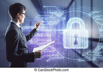 Man draws a lock symbol hologram, double exposure, digital security concept