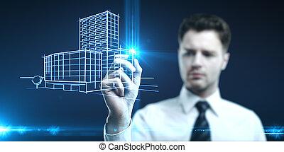 model building - man draws a model building on a blue...