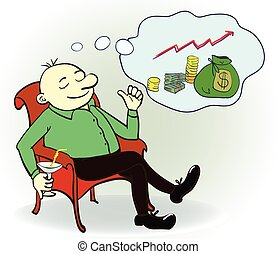 Man dream about money. Concept. Vector illustration.