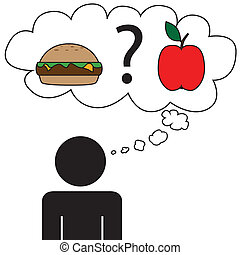 Man dream at food - Illustration (vector) of a person that...