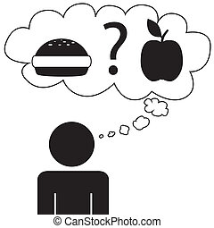 Man dream food - Illustration (vector) of a person that is...
