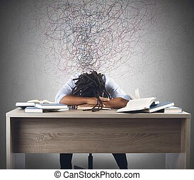 Man dreaming over books - Man tired of studying dreaming...