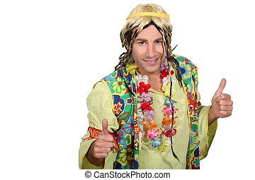 Man dressed as a hippy