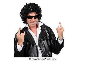 Man dressed as a rockstar