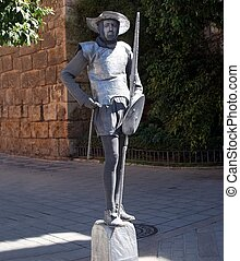man dressed as Don Quixote mime
