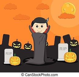 man dressed as dracula in halloween
