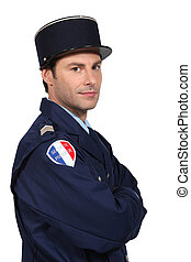 Man dressed as French policeman