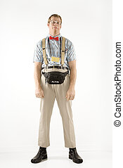 Man dressed as nerd. - Caucasian young man dressed like nerd...