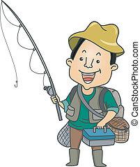 Man Dressed in Fishing Gear