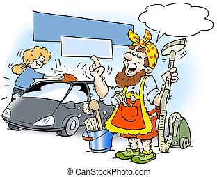 Man dressed like a cleaning woman - Cartoon illustration of...