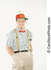 Man dressed like geek. - Caucasian young man dressed like ...