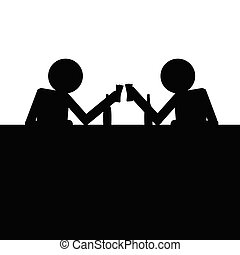 man drink alcohol vector silhouette
