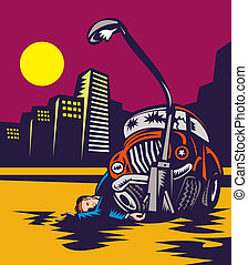 Man drink driving crashing car into lamp post - illustration...