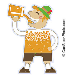man drinking a lot of beer.Vector oktoberfest illustration isolated on white for design