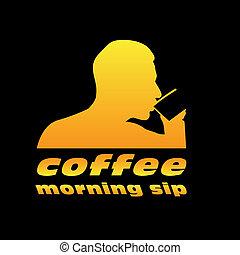 man drinking coffee vector