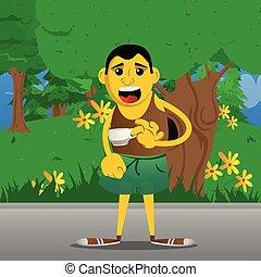 Man drinking coffee.