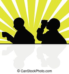 man drinking from a cup silhouette