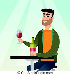 Man drinking wine in the restaurant.