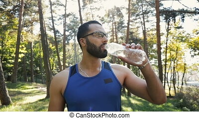 Man Drinks Water