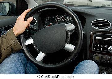 man drive a car