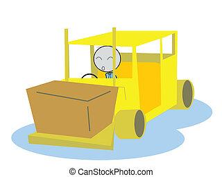 man drive a Forklift