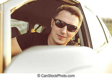 Man drive his car