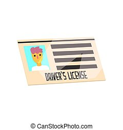 Man driver license identification card. Cartoon style document. Colorful vector Illustration