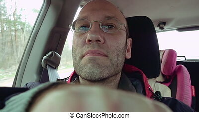 Man drives a car road windshield view slow motion