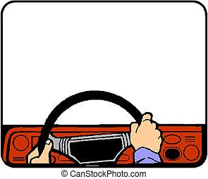 man drives the car