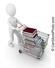 man drives the complete cart of supermarket books. 3d illustration on a white background.