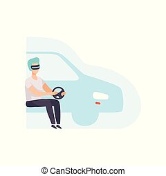 Man driving a car wearing virtual reality digital glasses, guy using optical device for real visualisation and simulation vector Illustration on a white background