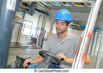 Man driving a forklift truck