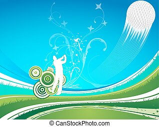 Man driving a golf ball  on a blue a green background