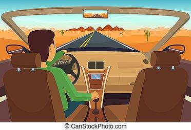 Man driving car. Cabriolet inside transportation, man in...