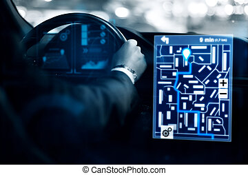 Man driving car with taxi interface