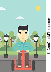 Man driving electric scooter vector illustration.