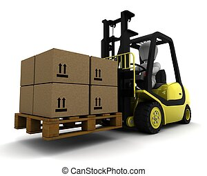 Man Driving Fork Lift Truck Isolated on White - 3D Render of...