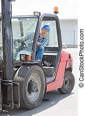 Man driving fork lift truck