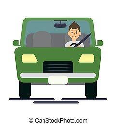 Man driving green
