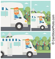 Man driving motor home vector illustration. - Young hipster...