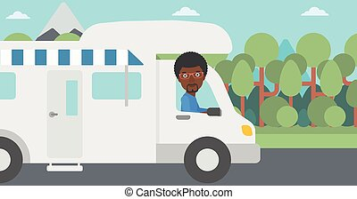 Man driving motor home vector illustration. - An...