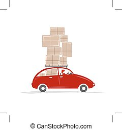 Man driving red car with boxes on the roof rack