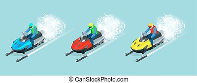 Man driving sports snowmobile set. Isometric vector...