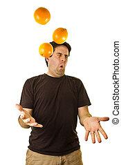 man, droppar, apelsiner, medan, jonglera