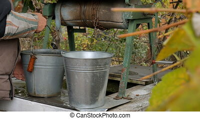 Man drops chain with bucket into rustic well to draw water....