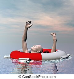 Man drowning - 3D render - Man drowning in the ocean despite...