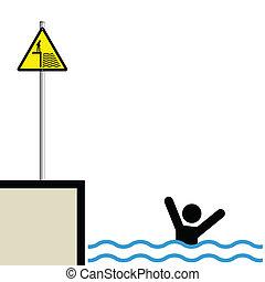 man drowning - Warning hazard sign and signage man drowning
