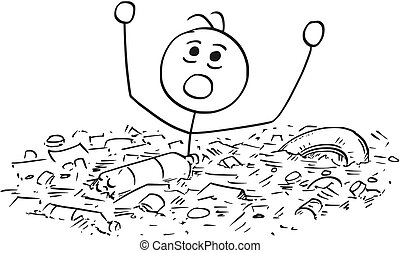 Man Drowning in Waste Garbage Dump
