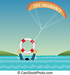 man drowning supported by tube, parachute, insurance
