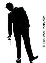 man drunk holding a glass of red  wine